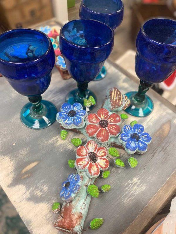 Hand Blown cobalt blue wine glasses